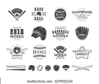 Emblems and badges set of baseball team. Graphic design for t-shirt. Black print on white background