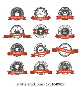 Emblems, badges and stamps with ribbons - awards and seals designs, vector