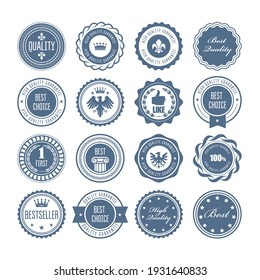 Emblems, badges and stamps, set of awards, blazons and heraldic seals designs, vector