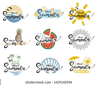 emblems collection of hello summer lettering with beach, pineapple and watermelon isolated on white background