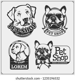 Emblems with dogs portrait for Pets Shop. Cute friendly pets characters. French Bulldog and Golden Retriever. Dogs labels, badges, icons and design elements.