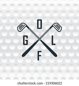 Emblems for golf with two crossed clubs. Retro label design. Postcard. Realistic rendition of ball texture. Seamless background. Tournament poster.