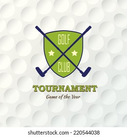 Emblems for golf with two crossed clubs. Retro label design. Postcard. Realistic rendition of ball texture closeup. Seamless background. Tournament poster.