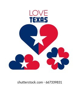Emblems of hearts in the colors of the flag of Texas. Love Texas. Vector illustration.