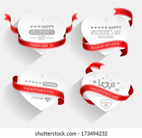 Emblems with hearts and red ribbons with shadow. Vector