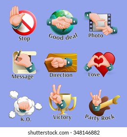 Emblems set of different web social network elements with hand gestures on it cartoon isolated vector illustration