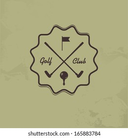 Emblems for with two crossed golf clubs, ball. Retro label design. Postcard.