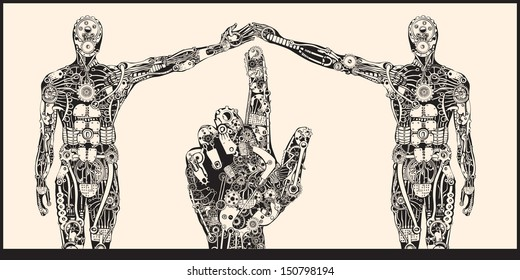 The Embodied Human Connection. The Architect Hand on the Stereotype Society Concept.