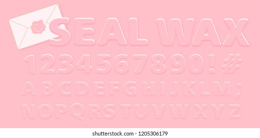 Embossed cute pink alphabet for Little Princess. Seal wax round letters in cartoon comic style. Girlish element of design stickers for decoration diary, birthday invite card, vintage certificate label