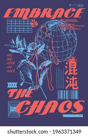 """Embrace the chaos text with globe design Translation ; """"chaos"""" for t-shirt graphics, banner, fashion prints, slogan tees, stickers, flyer, posters and other creative use - Shutterstock ID 1963371349"""