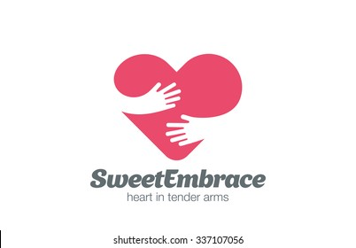 Embrace Heart Shape Logo design vector template. Valentine Day Love Concept: Embracing Logotype negative space icon.