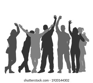 Embracing student friends waving hands vector silhouette isolated on white. Happy boys and girls tourists hand wave saying hi. Send off sign people. Young couples in love enjoy in summer travel.