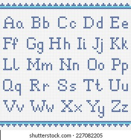 Embroidered alphabet. Uppercase  and lowercase letters