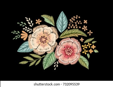 Embroidered bouquet of wildflowers. Floral print.