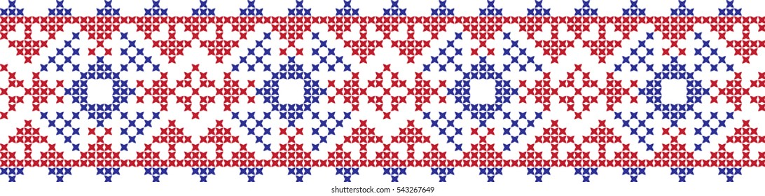 Embroidered cross ornametr national pattern