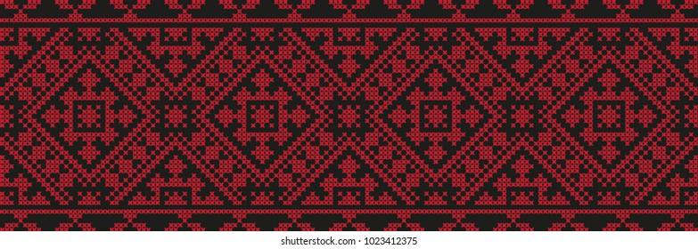 embroidered cross-stitch ethnic Ukraine pattern vector