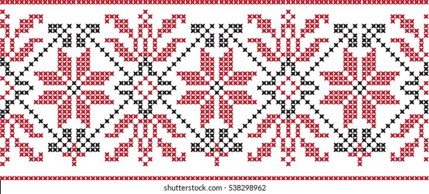 Embroidered cross-stitch pattern tape
