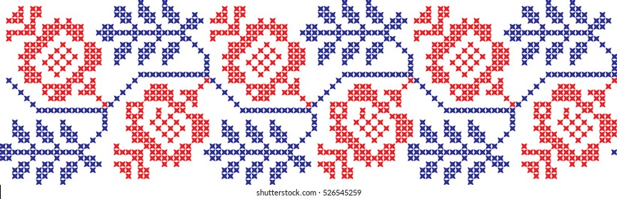 Embroidered cross-stitch pattern Ukrainian national