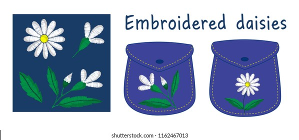 Embroidered daisies with individual elements