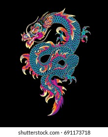 Embroidered dragon. Trendy embroidery in Japanese style for textiles, clothes, patches, wallpapers and manufacturing