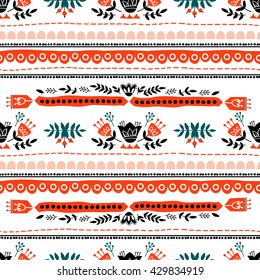Embroidered ethnic seamless. Hand drawing. Seamless for fabric design, gift wrapping paper and printing and web projects.