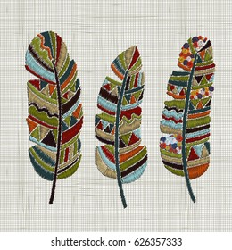 Embroidered feathers. Colorful hoop art. Boho, crafts, hand embroidery patterns. Hand drawn doodles, indian navajo patterns. Linen cloth texture. Vector.