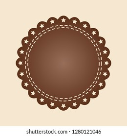 Embroidered flat style brown round stamp isolated on ivory background. Brown fabric vintage tape. Template for banner, award, sale, icon, logo, label, poster etc. Vector illustration