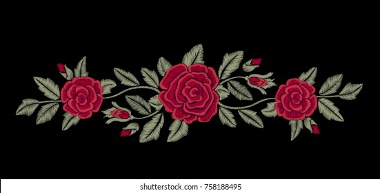 Embroidered flowers. Chic red roses on a black background. Fashion design.