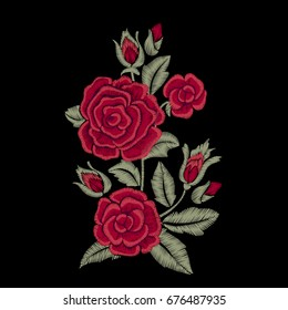 Embroidered flowers and leaves. Bouquet of red roses. Vector print.