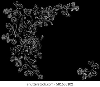 embroidered flowers on black background
