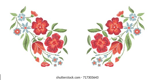 Embroidered flowers on a white background. Vector floral print.