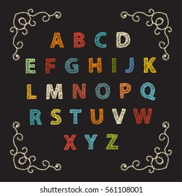 Embroidered font alphabet letters colorful crocheted, knitted pattern