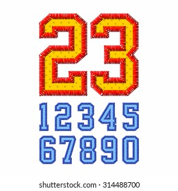 Embroidered font numbers vector illustration