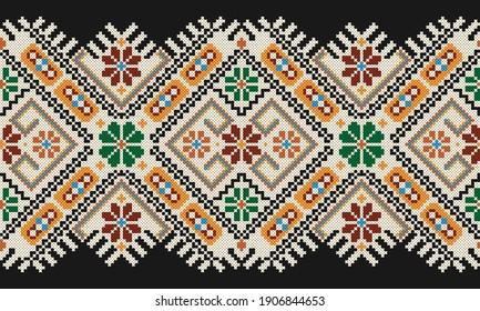 Embroidered good like old handmade cross-stitch ethnic Ukraine pattern. Ukrainian towel with ornament, rushnyk called, in vector.