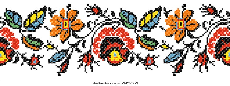 Embroidered good like old handmade cross-stitch ethnic Ukraine pattern.Seamless pattern with flowers