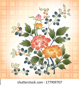 embroidered Japanese style floral bouquet on plaid fabric background
