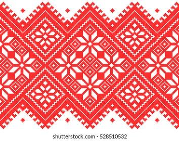 Embroidered old handmade cross-stitch ethnic Ukrainian pattern. Seamless ornament