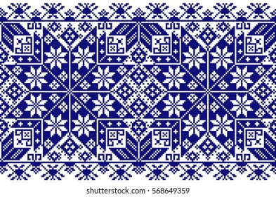 Embroidered old handmade cross-stitch ethnic Ukrainian pattern. Seamless ornament in vector