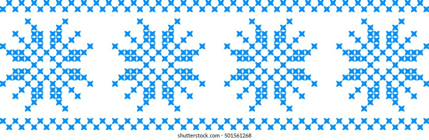 Embroidered ornament snowflake on a transparent background