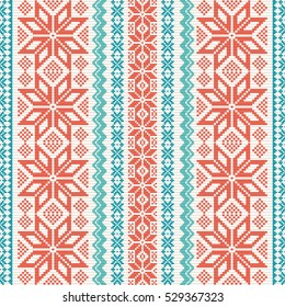 Embroidered ornamental seamless pattern in folk style