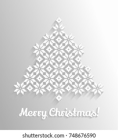 Embroidered pattern Christmas tree Vector greeting card