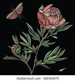 Embroidered peony on a black background. Vector decorative  flower, leaves and butterflies for for embroidery, patches and stickers