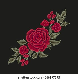 Embroidered red flowers. Roses and leaves.  Fashion design. Vector floral print.