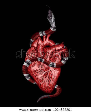 Embroidered Snake Human Heart Embroidery Patch Stock Vector ...