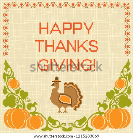 embroidered thanksgiving card retro style turkey stock vector