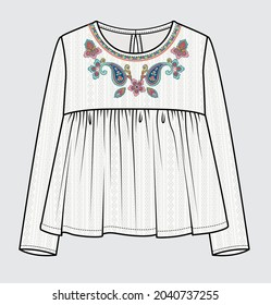 EMBROIDERED TOP FOR GIRLS AND TEENS