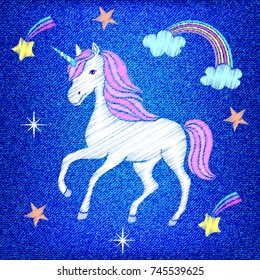 Embroidered unicorn,stars,clouds on blue jeans texture.Vector illustration.