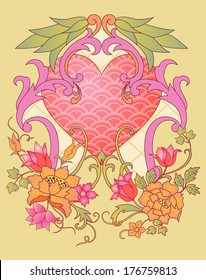 Embroidered Valentine: kimono embroidery elements with a heart symbol montage