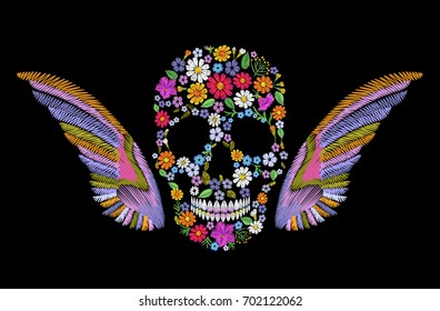 Embroidered vintage flower skull with wings. Colorful fashion mexican decoration embroidery patch. Texture stitch vector illustration