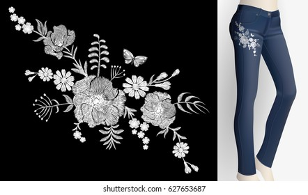 Embroidered white flower patch rose poppy daisy herbs. Women slim jeans pair decoration floral ornament print embroidery. Vintage fashion trendy design vector illustration